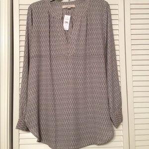 Ann Taylor LOFT V neck tunic blouse